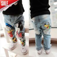 5pcs/lot 2014 new arrival girls boys cartoon mickey minnie dog printed jeans kids fashion pants A159