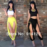 2014 hot sexy women bodycon jumpsuit clubwear irregular rompers white tank neon yellow split cut out pants yoga birthday attire