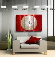 "Modern Abstract Painting Metal Clock Wall Art ""Burning Moon"" by Artist Jon Allen"