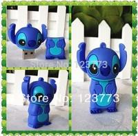 Free shiping New cartoon standing blue stitch  model usb pendrive 4GB 8GB 16GB 32GB usb 2.0 memory stick flash drive pen drive