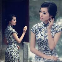 Silk cheongsam fashion autumn 2014 blue and white porcelain vintage chinese style cheongsam dress