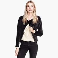 Black velvet outerwear long-sleeve slim oblique zipper collarless jacket haoduoyi