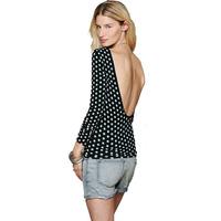 White polka dot black female long-sleeve slim elastic t-shirt deep V-neck haoduoyi back