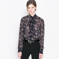 Long-sleeve bow small strawberry print black female chiffon shirt haoduoyi