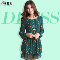 Dress Spring and Summer women  dot basic o-neck chiffon dress plus size casual candy color one-piece dress women clothing