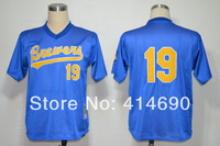 Cheap Authentic Milwaukee Brewers #19 Robin Yount Blue Throwback Baseball Jerseys