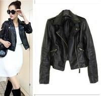 HOT SALE! Women Motorcycle Leather Jacket Coat Fashion Short Zipper Paragraph Diagonal Coat Outerwear Black Leather Clothes