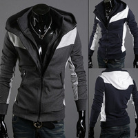 2014 spring and autumn male fashionable casual slim with a hood color block sweatshirt male casual all-match outerwear