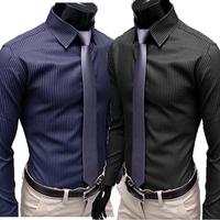 Camisetas Masculinas New 2014 Autumn Male Fashion Stripe Color Block Decoration Elegant Long-sleeve Shirt Slim Casual All-match