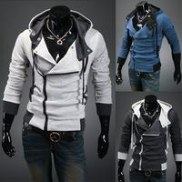 2014 outerwear male with a hood sweatshirt outerwear male cardigan oblique zipper decoration slim sweatshirt