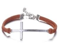 Wholesale -  Silver Cross Korea Velvet Bracelets Curved Side Ways Cross Charm Bracelet YH-4 Free shipping