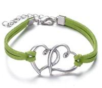 Wholesale - double heart  bracelets antique Love Heart Leather Bracelet Charm Wristbands
