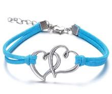 Wholesale double heart bracelets antique Love Heart Leather Bracelet Charm Wristbands