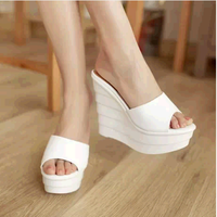 2014 summer platform elegant ultra high heels wedges solid color drag massage slippers with slip-resistant sandals