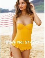 2014 Yellow / Black Solid Color  High Quality Tankini Women Swimwear Bikini Sexy Beach swim wear Swimsuits Beachwear Bathers