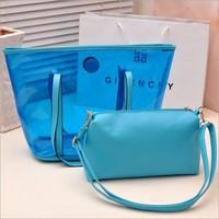 2014  summer new style transparent crystal bag fluorescent color women messenger bag,BAG141