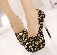 2014 new fashion skull head high with European and American high-heeled shoes 40 yards nightclub