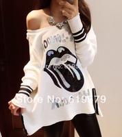 2014 women T-shirt sexy boat neck loose fleece big lips cartoon street render unlined upper garment of a T-shirt 2 color