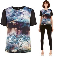 CL1561 European Style Brand Forest Printing Cotton All-match Lady Shirt Patchwork Spring Summer Fall Women T-shirts