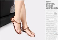 women buckle flip flops open toe sandals flats sandles summer flat sandals ladies' black Roman sandals rhinestone   9.9
