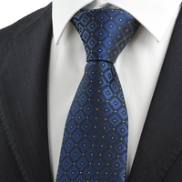 Navy Blue Gradient Checked Men's Tie Formal Necktie Wedding Holiday Gift   321
