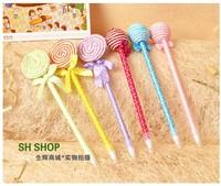 Cute stationery 20pcs 0.5mm cartoon lollipop candy ball craft ballpoint ball pen children student shcool prize gift wholesale