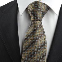New Brown Bronze Coin Checked Antique Rare JACQUARD Men's Tie Necktie Gift   324