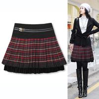 2013 autumn female bust skirt formal fashion plaid sweet gentlewomen wool short skirt female 0821 a-line skirt
