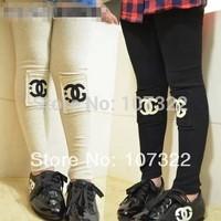 High Quality Fashion Spring/Autumn Cotton Letters C Children Girls Leggings Skinny Long Pants Kid/Baby Wear Black/White 575140