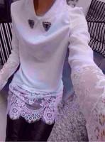 2014 organza turn-down collar diamond sweep lace basic shirt slim medium-long hip chiffon shirt