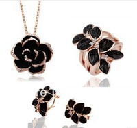New Jewelry Sets Black Enamel Leaf Flower Necklace/Earrings/Rings Austrian Crystal leaf Sets
