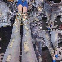 Luxury handmade bling Kells gem beaded fashion slim denim skinny pants