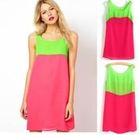 2014 spring and summer women's patchwork color block chiffon one-piece dress,plus size S --XXXL lady sexy mini dress,women dress