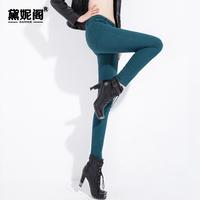 Print denim legging female vintage mid waist slim pencil long trousers