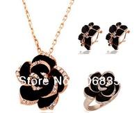 New Jewelry Sets Black Enamel Rose Flower Necklace/Earrings/Rings Austrian Crystal Flower Sets
