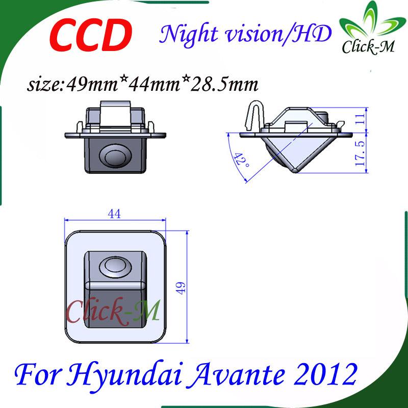 520TVL CCD HD parking reverse camera for Hyundai Avante 2012 night vision car rear view camera Pixel 728*582(China (Mainland))