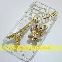 1 Pcs Handmade Bling Eiffel Tower Love Bear Clear Hard Back Case For Motorola Moto G XT1028 XT1032 XT1031