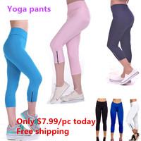 2014 new spring autumn fashion dancing sportswear tights high waisted trouser fitness zipper yoga sports cardio slim pants