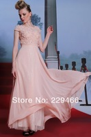 WZY-W21 Pink Floral Beading Short Sleeve Long Sexy New Fashion Elegant Modest Shiny  Prom Dresses with Sleeves