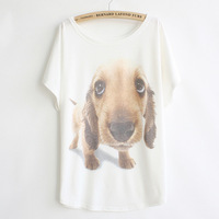 New 2014 Women's Cartoon Stud Dog Loose Bat Shirt Short-sleeved T-shirt Casual Women Cotton Shirt