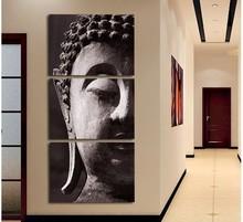 Pintura 3 Painel Wall Art Oil Religião Buda na lona No quadro Painéis Room For retrato da arte decoração de casa moderna(China (Mainland))
