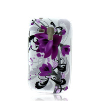 Free shipping Patterned flower Gel TPU Rubber case Cover skin For Samsung Galaxy S Trend Duos S7562