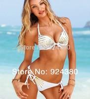 2014 summer swim wear white bikini set with gold print size S M L quality  swimsuit