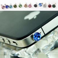 Universal Diamond Rhinestone Dust Plug 3.5mm Earphone Jack Plug For iPhone5 4 iPad Samsung HTC Phone 10pcs/lot [No Tracking No.]