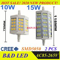 Dimmable R7S led 10W 15W SMD5050 78mm J78 118mm J118 LED light bulb light lamp AC85-265V replace halogen floodlight warm white