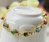 free shipping 2014 new colorfull crystal bijouterie bug bracelet bracelets bangles rose gold filled bracelet woman jewelry