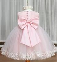 Girls Dress Princess dress children's wear Party veil Big bow girl wedding flower Baby girls dress pink white