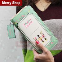 2014 Fashion PU leather Women's wallets Printed wallets for women zipper long purse High Quality Wallet