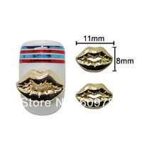 Free shipping 50pcs/lot 3D Gold Sexy Lip Mouth Design Nail Studs Supplier