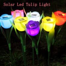 4Pcs/Lot/4Colors Hot Sale Outdoor Garden Solar LED Light Solar Powered LED Tulip Home Lawn Lamp Landscape Night Flower Lamp(China (Mainland))